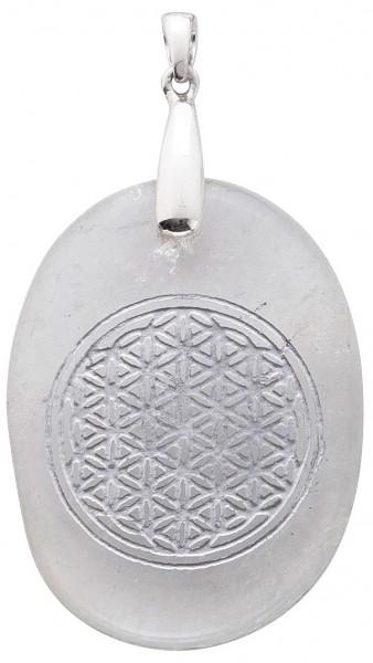 Bergkristallanhänger oval Blume des Lebens Sterling Silber 925
