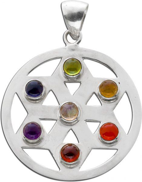 Anhänger Chakra Rad Sterling Silber 925 Labradorit Amethyst Iolith Peridot Citrin Carneol Granat  bunt