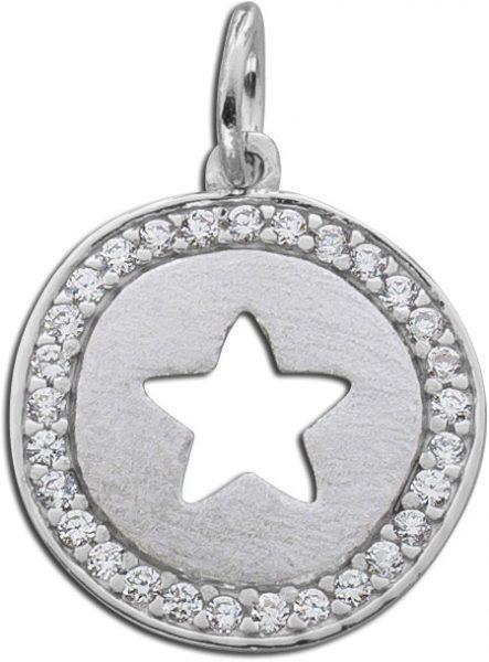 Anhänger Stern Sterling Silber 925 Zirkonia brillantfunkelnd