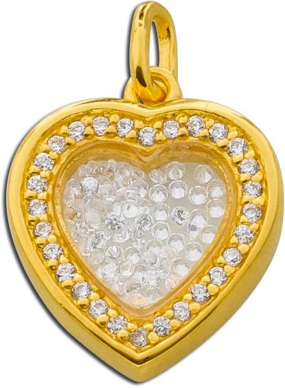 Herzanhänger Silber 925 vergoldet Medallion Anhänger Glas Zirkonia