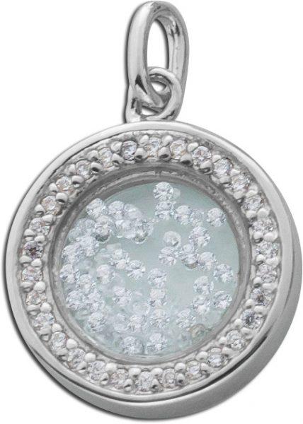 Anhänger Sterling Silber 925 rund Glaseinsatz Zirkonia freischwebend