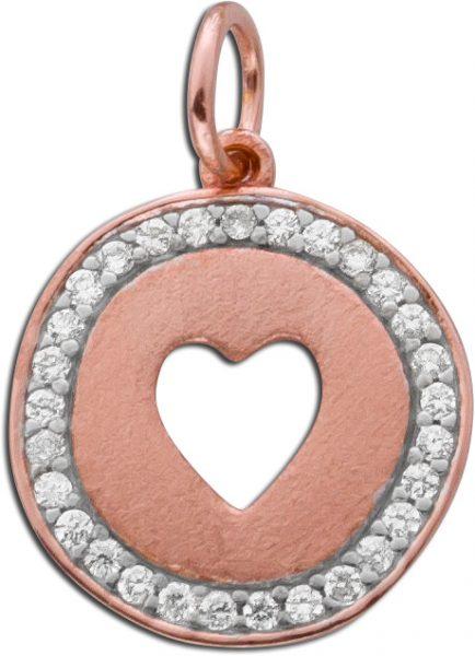 Anhänger Herz 29 Zirkonia Sterling Silber 925 rose vergoldet