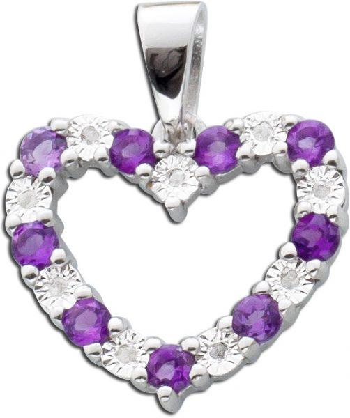 Anhänger Herz Sterling Silber 925 Diamanten Amethysten