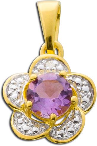 Anhänger Sterling Silber 925 teils vergoldet Amethyst Diamant