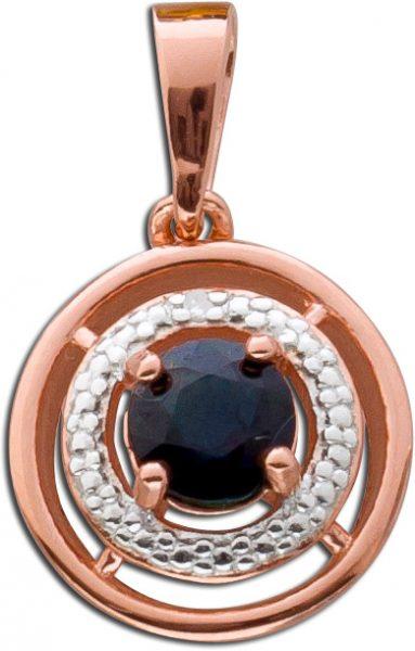 Anhänger Sterling Silber 925 teils rosévergoldet Diamant blauem Saphir