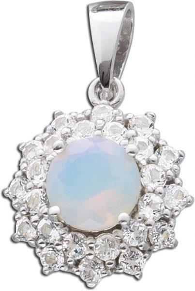 Opal Kettenanhänger Silber 925 blau weißer Opal weiße Topase