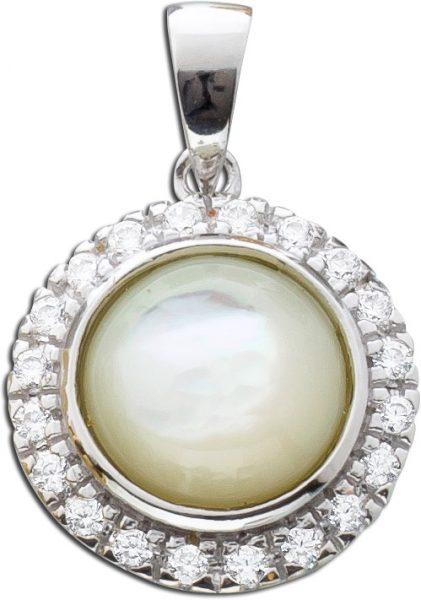 Kettenanhänger Silber 925 Perlmutt Anhänger Zirkonia