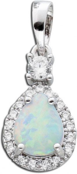 Anhänger Opal weiss Silber 925  Zirkonia