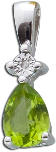 Anhänger Silber 925 Peridot Diamant