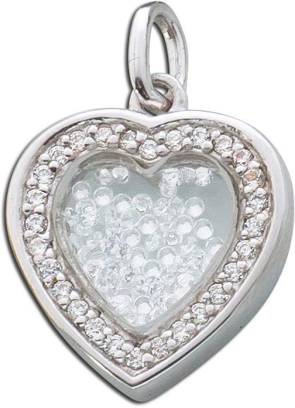 Kettenanhänger Silber 925 Herz Anhänger Medallion Glas Zirkonia Kristalle