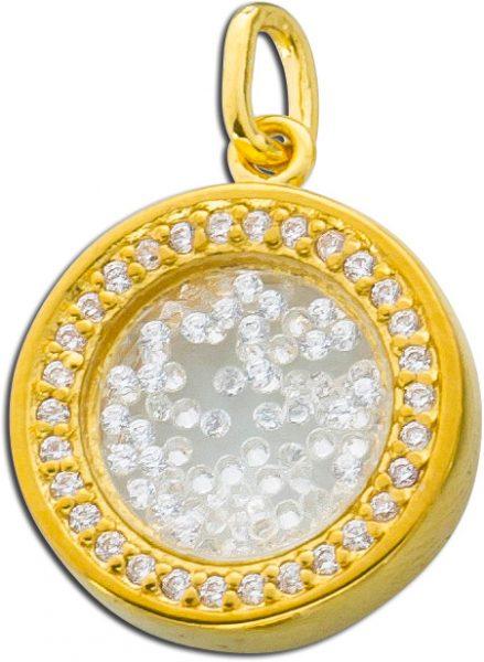 Kettenanhänger Silber 925 vergoldet Med...