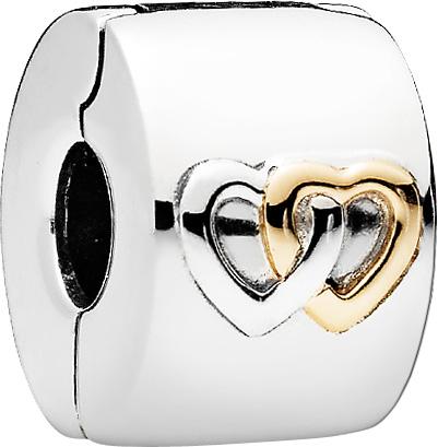 Pandora Clip 796266 Sterling Silber 925 Gelbgold 585 glühende Herzen
