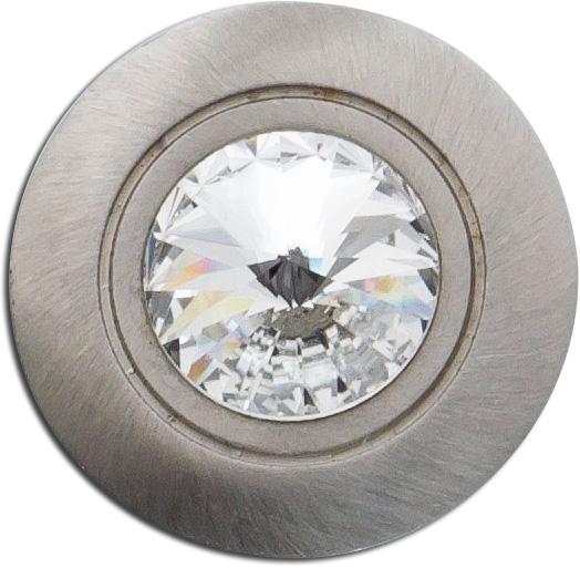 Knopf Anhänger T-Y Edelstahl poliert weißer Kristall