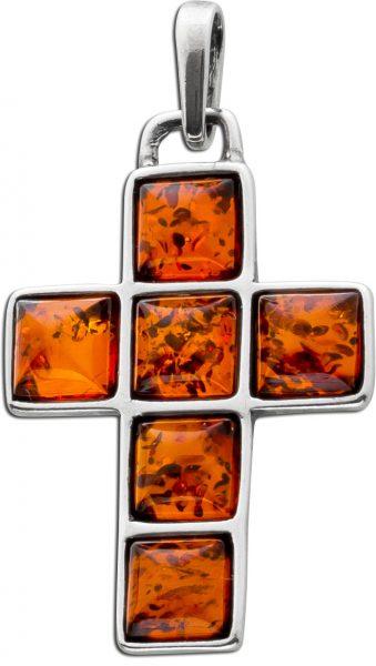 Bernsteinschmuck Anhänger Kreuz Silber 925 Bernsteinkreuz braun orange cognac