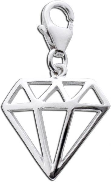 Diamantförmiger Charm Anhänger Sterlin...