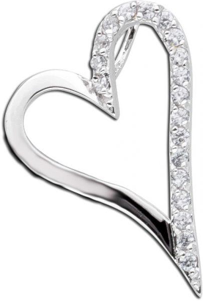 Herzanhänger Silberanhänger Sterling Silber 925  Zirkonia