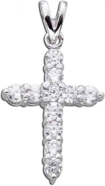 Kreuzanhänger Schmuckanhänger Kreuz Sterling Silber 925 Zirkonia klassisch