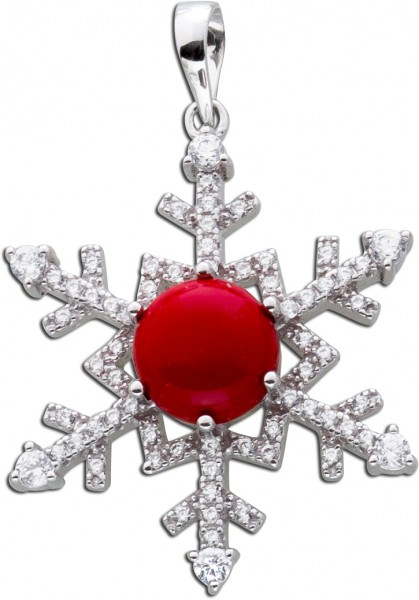 Schneeflocken Kettenanhänger roter Edelstein Silber 925 weisse Zirkonia rote Koralle