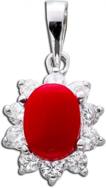 Korallen Kettenanhänger rot Silber 925 weisse Zirkonia Lady Di Look