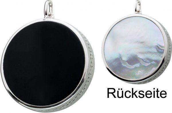 Schwarzer Onyx weißer Perlmutt 2-seitiger Kettenanhänger Silber 925