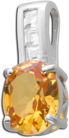 Citrin Anhänge gelb oranger  Silber 925  Citrinkettenanhänger