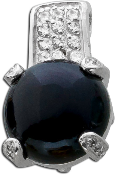 Edelstein Anhänger Onyx schwarz  Silber 925 OnyxCabochon weiße Topase