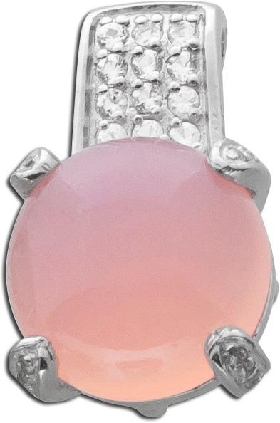 Edelsteinanhänger pink Silber 925 Chalcedon Cabochon weiße Topase