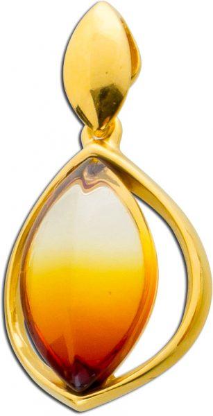 Edelsteinanhänger Bernstein Anhänger orangefarben gelb vergoldet Sterling Silber 925 leichter Farbverlauf