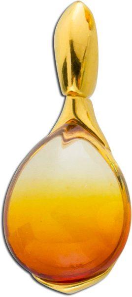 Bernstein Kettenanhänger cognacfarben Bernsteinanhänger Sunset gelb vergoldet Silber 925 leichter Farbverlauf