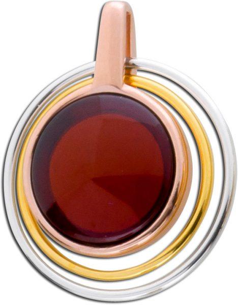 Roter Bernstein Anhänger Edelsteinanhänger Kettenanhänger tricolor Silber 925 Cherry Amber Bernstein