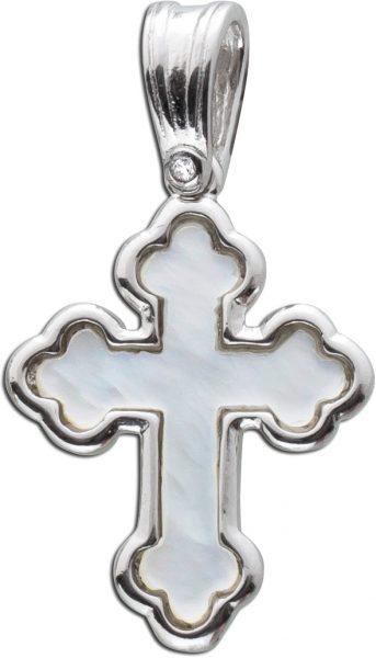 Kreuz Anhänger Silber 925 Edelstein Perlmutt weiß