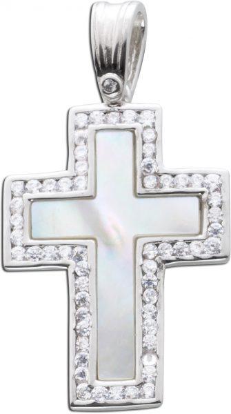 Kreuz Anhänger Silber 925 Edelstein weiß Perlmutt Zirkonia