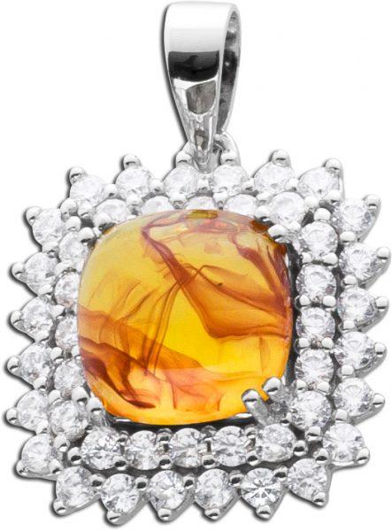Bernstein Kettenanhänger cognac orange farbener Edelsteinanhänger Sterling Silber 925 orangefarbener Bernstein klare Zirkonia