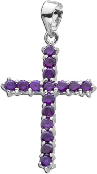 Kreuz Anhänger lila Zirkonia Silber 925...