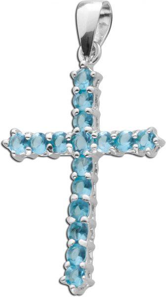 Kreuz Anhänger hellblau Zirkonia Silber 925 Kettenanhänger Blautopas