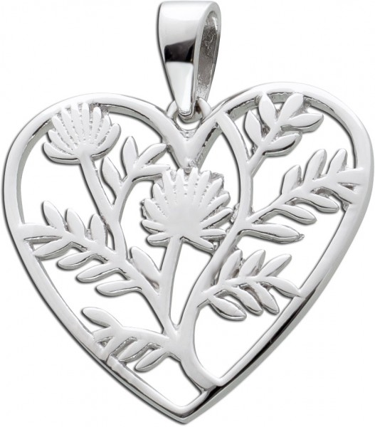 Herzförmiger Anhänger Blumenmuster Silber 925 Damenschmuck