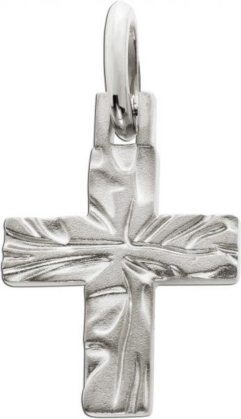 Kreuz Anhänger Kreuzschmuck Silber 925 matt strukturierte Oberfläche 44x25mm