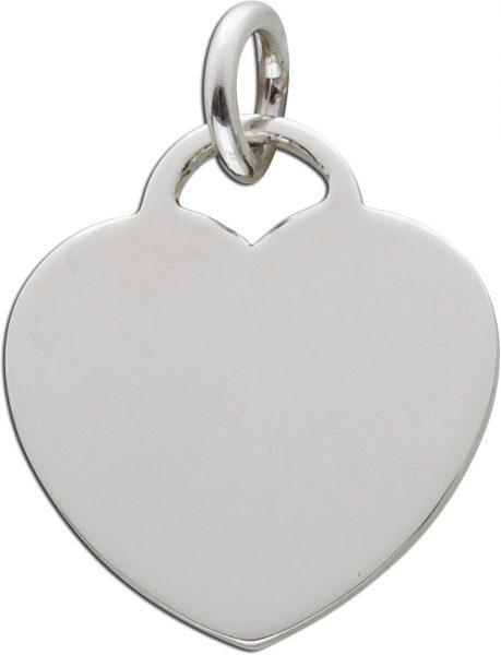 Herz Anhänger Kettenanhänger Silber 925 polierte Oberfläche beidseitig gravierbar