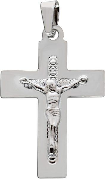Kreuz Anhänger Silber 925 poliert Jesusanhänger 925 Glaubenssymbol Unisex