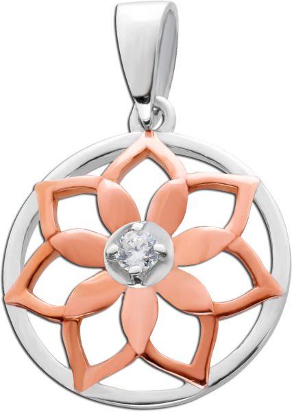Anhänger  Blume Silber 925 teils rose vergoldet Zirkonia Damen
