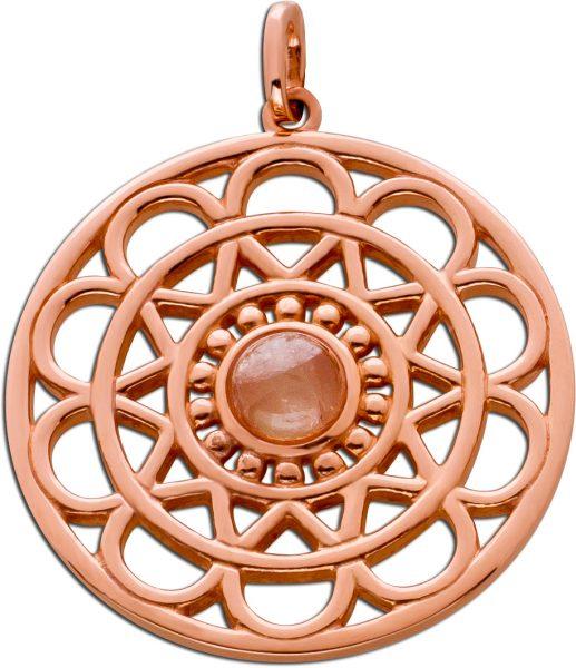Anhänger Lebensblume Silber 925 rose vergoldet Rosenquarz Cabochon