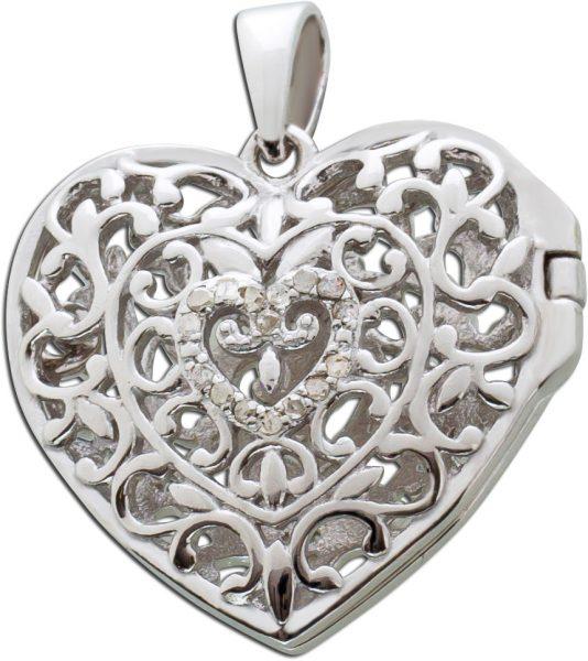 Diamant Herz Anhänger Medaillon Silber 925 öffenbar