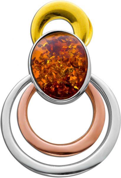 Multicolorer Bernstein Anhänger Silber 925 teils rose/gelb vergoldet brauner Edelstein Cabochon