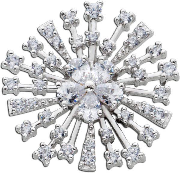 Runder Anhänger weißen Zirkonia Silber 925 Damenschmuck