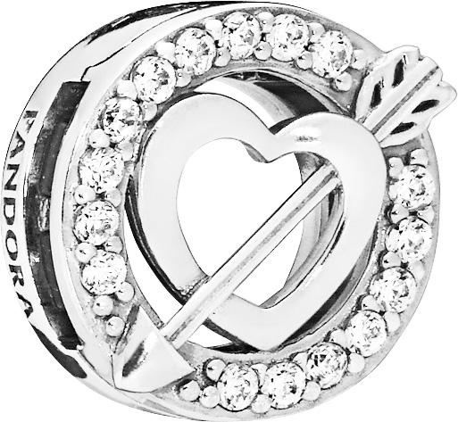 PANDORA REFLEXIONS 797793CZ Clip Charm Asymmetric Heart and Arrow Sterling Silber