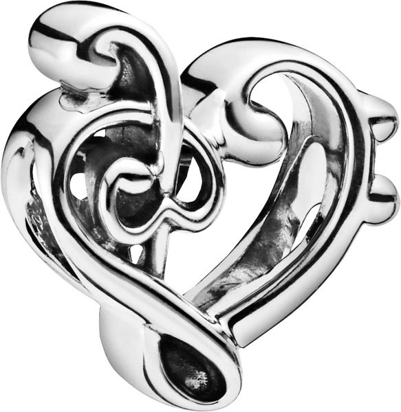 PANDORA Charm 798346 Heart Treble Clef Sterling Silber