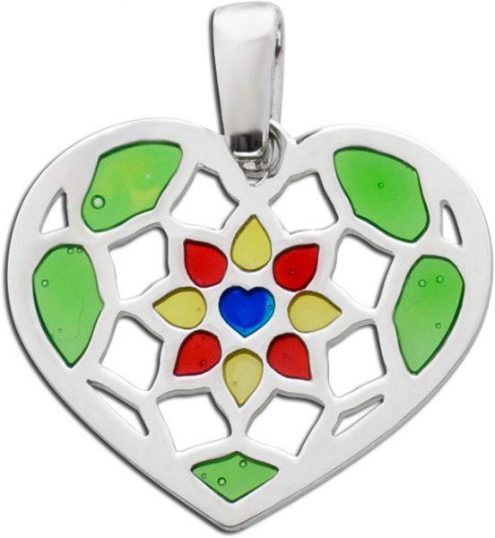 Herz Anhänger Silber 925 bunt lackierten Elemente