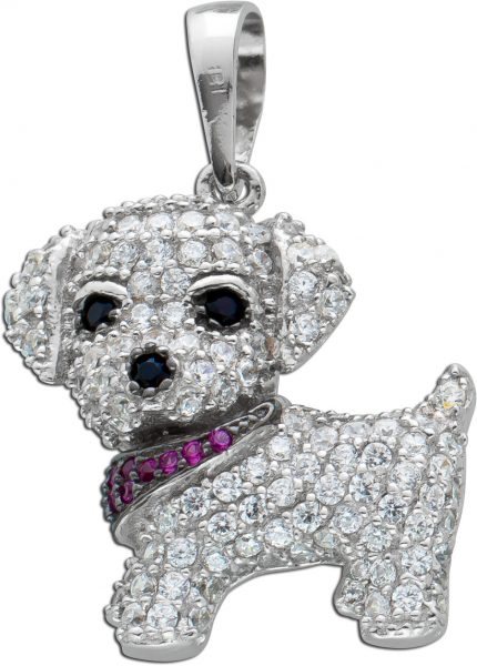 Hund Anhänger schwarz weiß rosa Zirkonia Silber 925