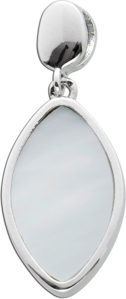 Perlmutt Edelstein Anhänger Silber 925 helles Perlmutt Kettenanhänger Navetteförmig