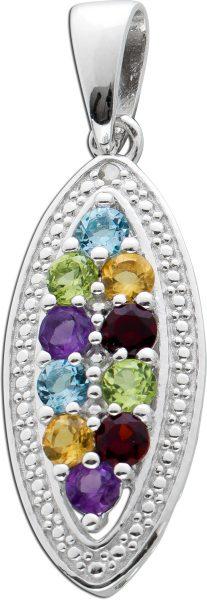Multicolorer Diamant Anhänger Silber 925 Edelstein Kettenanhänger Blautopas Granat Citrin Peridot Amethyst